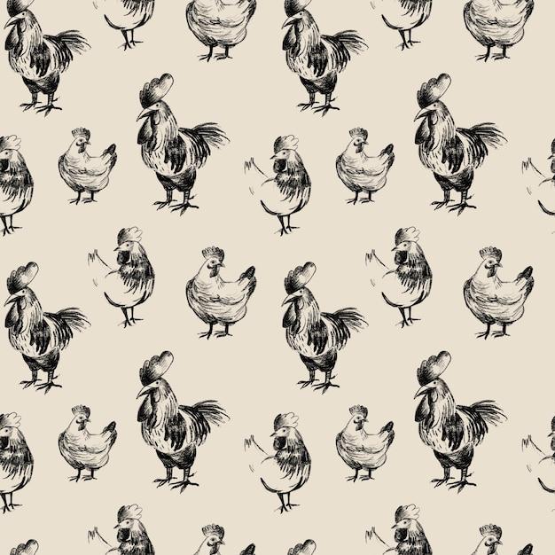 Kip potlood tekening naadloze patroon, boerderijdieren schets Premium Foto