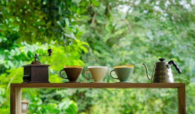 Kits voor het maken van verse koffie Premium Foto