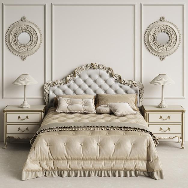 Klassiek slaapkamerbinnenland met exemplaarruimte. model. digitale illustratie. 3d-weergave Premium Foto