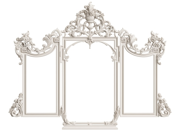 Klassiek spiegelframe geïsoleerd. 3d-rendering Premium Foto