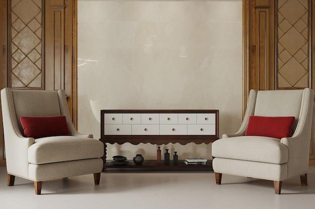 Klassiek woonkamerbinnenland met fauteuil en rood hoofdkussen Premium Foto