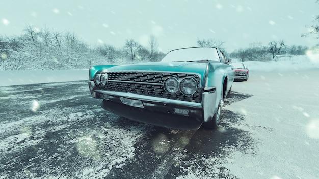 Klassieke blauwe auto's en besneeuwde seizoenen. Premium Foto
