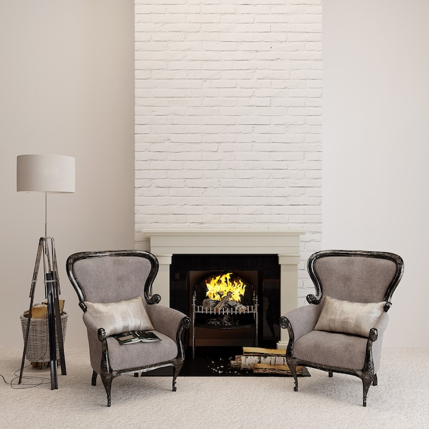 Klassieke fauteuil in een kamer met open haard Premium Foto