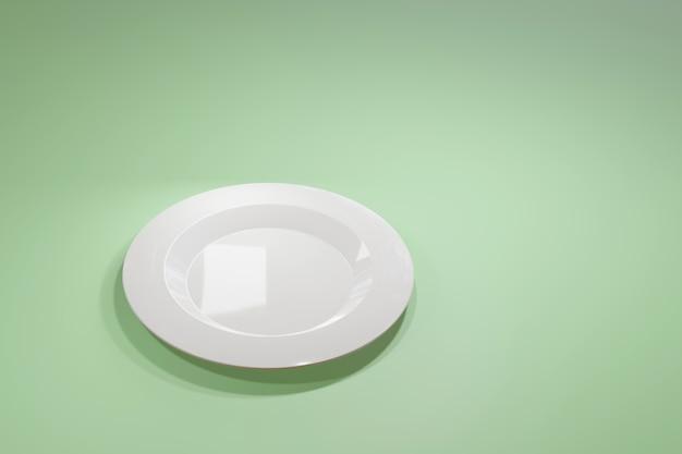 Klassieke witte keramische plaat voor een restaurant of café uitzicht vanaf de zijkant op een lichtgroene pastel achtergrond. Premium Foto