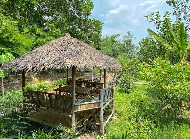 Klein droog grashuisje bij groene tuin Premium Foto