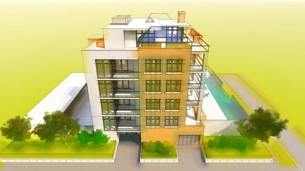 Klein functioneel condominium met een eigen afgesloten ruimte, garage en zwembad. 3d illustratie in handgetekende stijl, imitatie potlood en aquarel Premium Foto