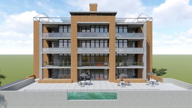 Klein functioneel condominium met een eigen afgesloten ruimte, garage en zwembad. gebied met parasols om te ontspannen bij warm weer. zomer zonnige dag met kleine wolken. 3d-weergave Premium Foto