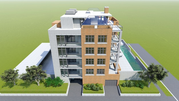 Klein functioneel condominium met een eigen afgesloten ruimte, garage en zwembad. gebied met parasols om te ontspannen bij warm weer. zomer zonnige dag met kleine wolken Premium Foto