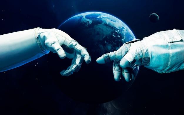 Kleine blauwe planeet aarde in diepe ruimte. Premium Foto