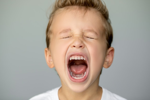 Kleine jongen schreeuwt met gesloten ogen. de afstandelijke jongeman op een grijze achtergrond deed zijn mond wijd open, witte, gelijkmatige tanden Premium Foto