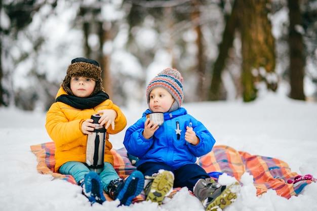 Kleine jongens hebben picknick in de winter bos. jonge kinderen het drinken van thee uit thermos in besneeuwde bossen. Premium Foto