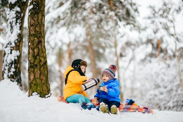 Kleine jongens picknicken in het winterbos en delen thee uit een thermoskan. Premium Foto