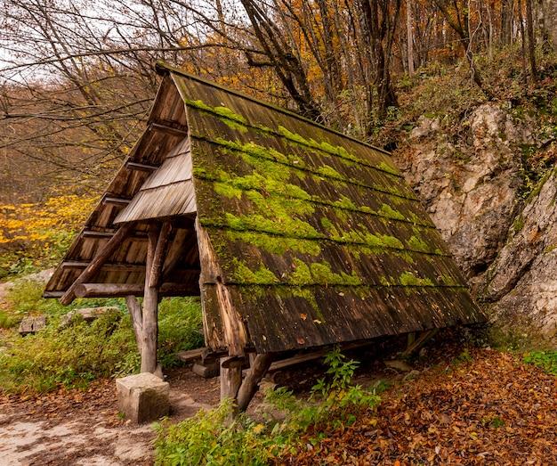 Kleine schuilplaats in het bos van nationaal park plitvicemeren in kroatië Gratis Foto