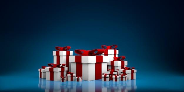 Kleur geschenkdoos terwijl. 3d illustratie Premium Foto