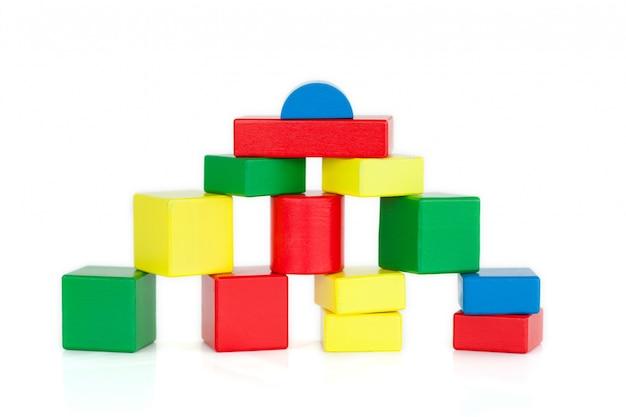 Kleur houten bouwstenen Premium Foto