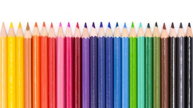 Kleur potloden geïsoleerd op een witte achtergrond. Premium Foto