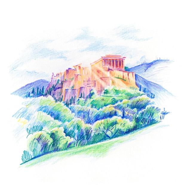 Kleur potloodschets van acropolis hill en parthenon in athene, griekenland Premium Foto
