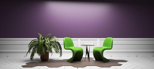 Kleuren interieur in volledige stijl. 3d-rendering Premium Foto