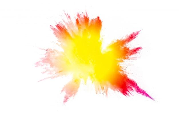 Kleurpoeder-explosie. kleurrijke spatten van stof. Premium Foto