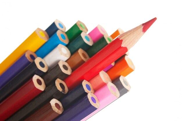 Kleurpotloden geïsoleerd Premium Foto