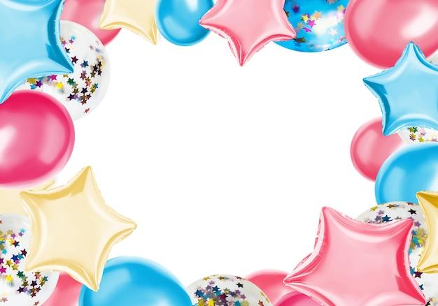 Kleurrijk isoleer ballons op een pastelkleur Premium Foto
