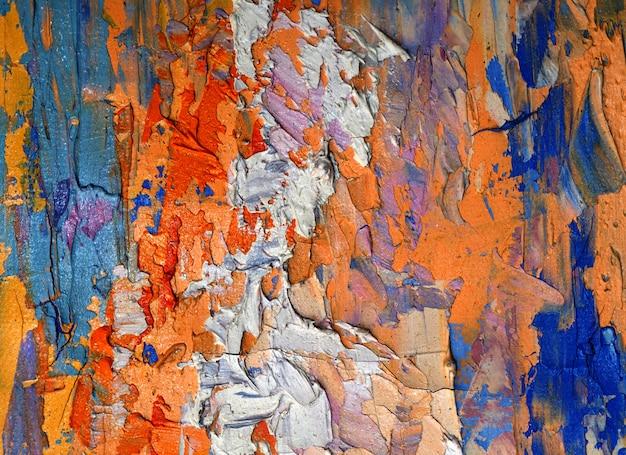 Kleurrijk olieverfschilderij op canvas abstracte achtergrond met textuur. Premium Foto