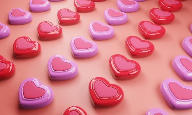 Kleurrijk snoepjespatroon met roze achtergrond. 3d illustratie Premium Foto
