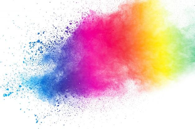 Kleurrijke achtergrond van de explosie van het pastelkleurpoeder. de plons van het kleurenstof op witte achtergrond. Premium Foto