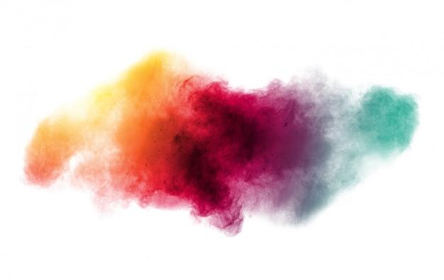 Kleurrijke achtergrond van pastel poeder explosie. multi gekleurde stof splash op witte achtergrond. geschilderde holi. Premium Foto