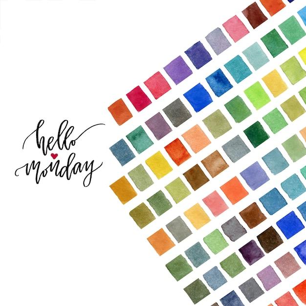 Kleurrijke aquarel decoratie. hallo maandag kalligrafie. Premium Foto