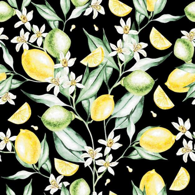 Kleurrijke aquarel patroon met citroen fruit en bloemen. illustraties. Premium Foto