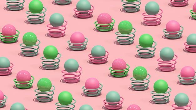 Kleurrijke ballen en veren. abstracte illustratie, 3d-rendering. Premium Foto