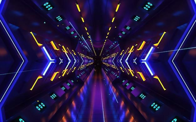 Kleurrijke beweging ontwerp achtergrond met symmetrisch patroon. abstracte sci-fi achtergrond met gloeddeeltjes vormen lijnen, oppervlakken, hologram of virtuele digitale ruimte. Premium Foto