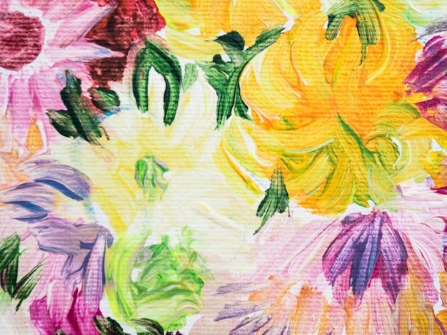 Kleurrijke bloemen schilderij gemaakt met acrylverf Gratis Foto