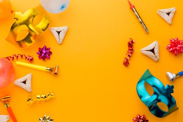 Kleurrijke carnaval-maskers met exemplaarruimte Gratis Foto