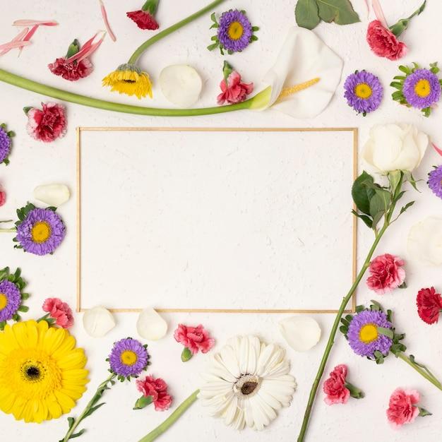 Kleurrijke feestelijke bloemenachtergrond met de horizontale ruimte van het kaderexemplaar Gratis Foto