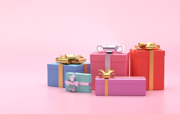 Kleurrijke geschenkdozen op roze achtergrond, kopie ruimte voor tekstadvertentie, 3d illustratie Premium Foto