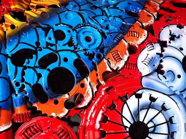 Kleurrijke olieverf op een close-up van de deelmachine. Premium Foto