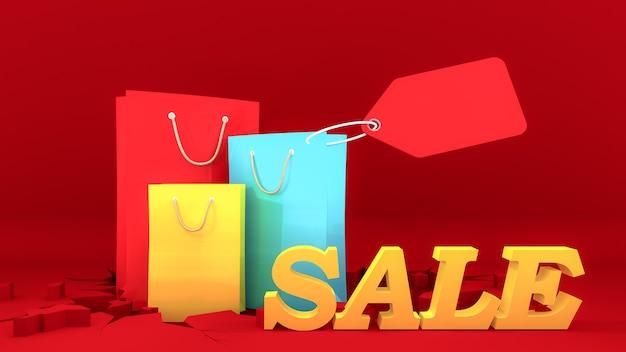 Kleurrijke papieren boodschappentassen en geel verkoop bord met prijskaartje op barst rode grond. Premium Foto