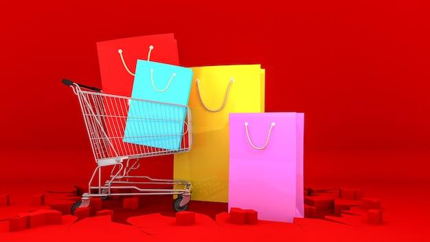 Kleurrijke papieren boodschappentassen op winkelwagen met op barst rode achtergrond. winkelen concept Premium Foto