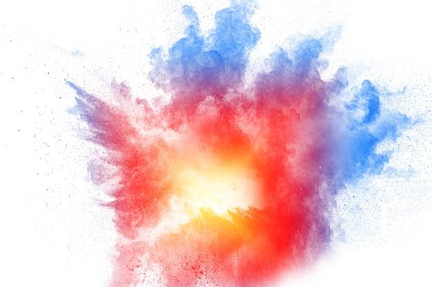 Kleurrijke poederexplosie. abstracte pastelkleurstofdeeltjes spatten. Premium Foto