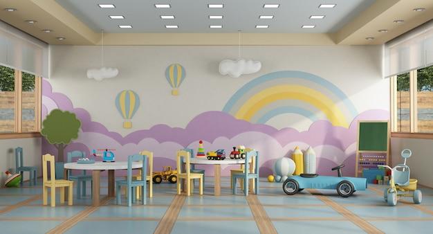 Kleuterschoolklasse zonder childs - het 3d teruggeven Premium Foto