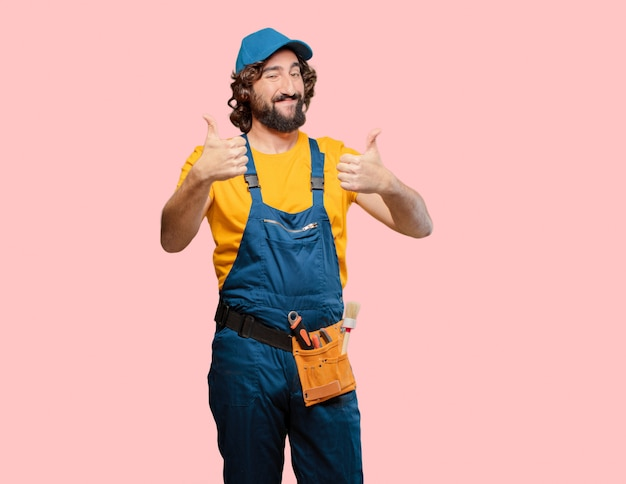 Klusjesman werknemer tevreden en trots Premium Foto