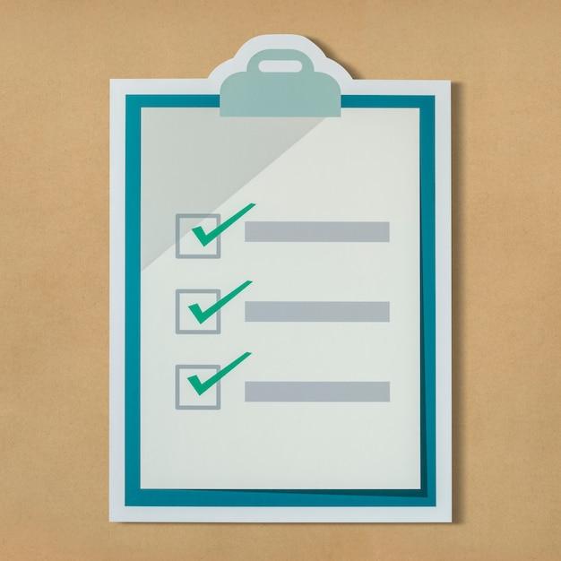 Knip het pictogram van de controlelijst uit Gratis Foto