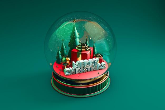 Koepel met kerstweergave met groen Premium Foto