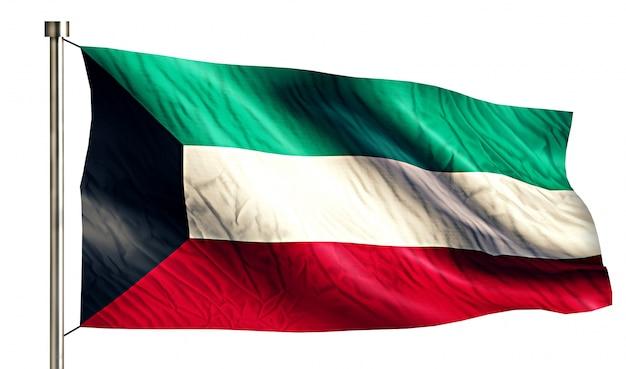 Koeweit national flag geïsoleerde 3d witte achtergrond Gratis Foto