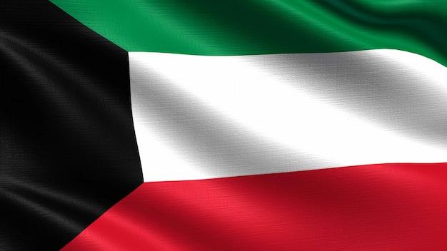 Koeweit vlag, met golvende stof textuur Premium Foto