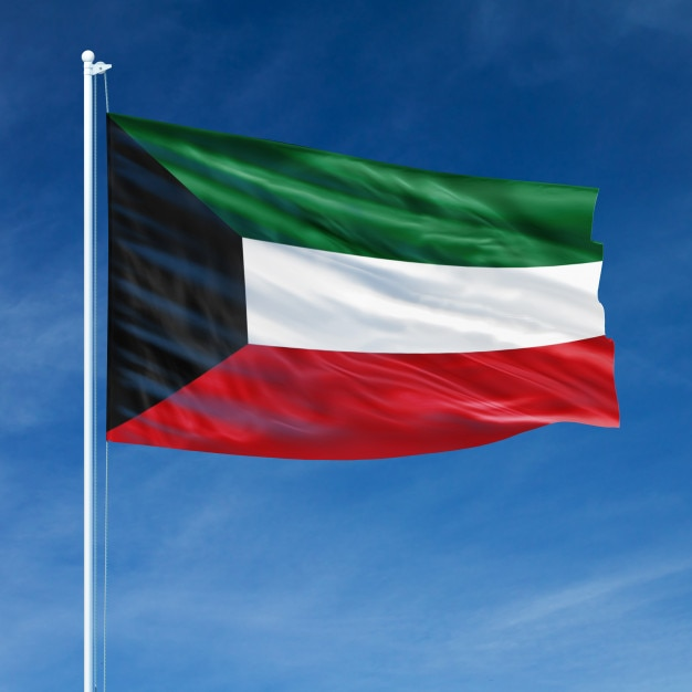 Koeweit vlag vliegen Premium Foto
