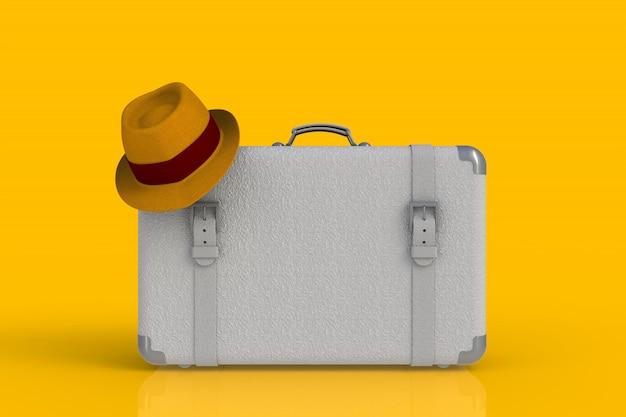 Koffer van een reiziger met strohoed op gele achtergrond, het 3d teruggeven wordt geïsoleerd die Premium Foto