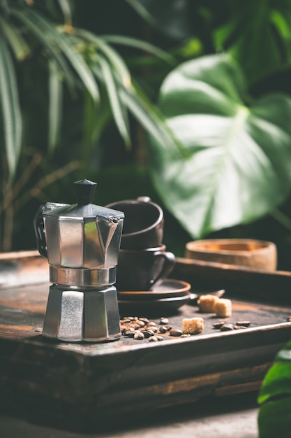 Koffie en tropische bladeren, close-up Premium Foto